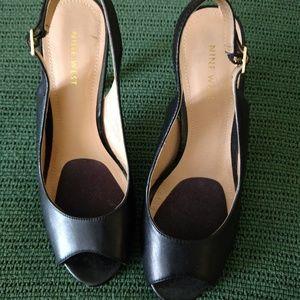 Nine West Leather Peep Toe Heels